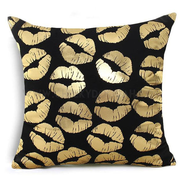 Multiple Gold Lips Cushion Cover