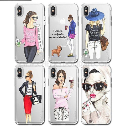 "CheekyDoodah Fun ""Chic Girl"" iPhone covers in an ultra thin, soft silicone, transparent and dirt resistant fitted case ~ 16 designs.  Compatible iPhone Models:  iPhone 6s, iPhone 6 Plus, iPhone 7, iPhone 5s, iPhone 6s plus, iPhone 5, iPhone 8, iPhone 6, iPhone X, iPhone 7 Plus, iPhone SE, iPhone 8 Plus"