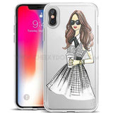 "CheekyDoodah Girl in evening dress - Fun ""Chic Girl"" iPhone covers in an ultra thin, soft silicone, transparent and dirt resistant fitted case ~ 16 designs.  Compatible iPhone Models:  iPhone 6s, iPhone 6 Plus, iPhone 7, iPhone 5s, iPhone 6s plus, iPhone 5, iPhone 8, iPhone 6, iPhone X, iPhone 7 Plus, iPhone SE, iPhone 8 Plus"