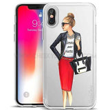 "CheekyDoodah Hustle Girl - Fun ""Chic Girl"" iPhone covers in an ultra thin, soft silicone, transparent and dirt resistant fitted case ~ 16 designs.  Compatible iPhone Models:  iPhone 6s, iPhone 6 Plus, iPhone 7, iPhone 5s, iPhone 6s plus, iPhone 5, iPhone 8, iPhone 6, iPhone X, iPhone 7 Plus, iPhone SE, iPhone 8 Plus"