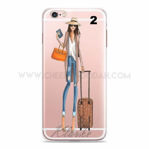 iPhone cover - lady with suitcase, jeans and sunhat
