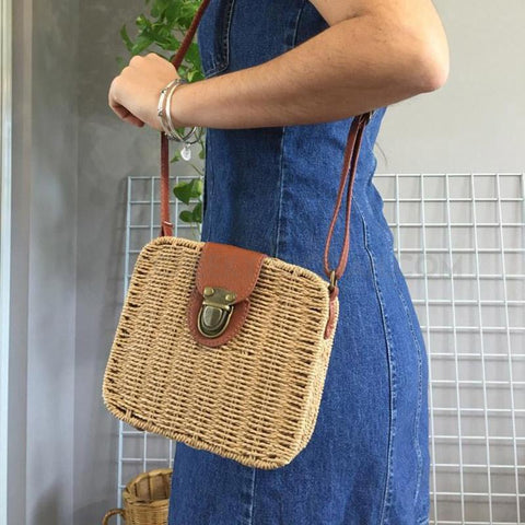 CheekyDoodah Candy colour square 'satchel style' cross-body shoulder straw bags, in 8 colours, with a gorgeous floral pattern lining. Exterior is hard framed. Interior has slot pocket.
