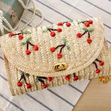 Cute Embroidered Cherry or Banana straw bags