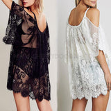 Boho Chic Beach Lace Dress with cut out shoulder feature