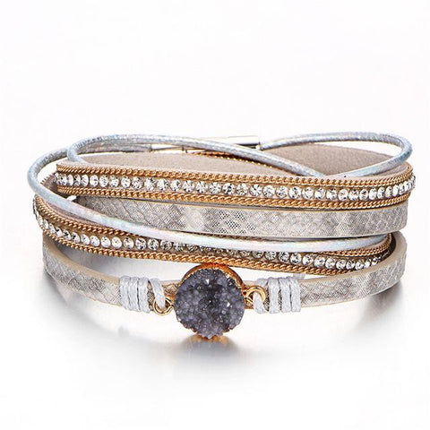 Silver Leather and Crystal Multi-Layer Bracelet - CheekyDoodah