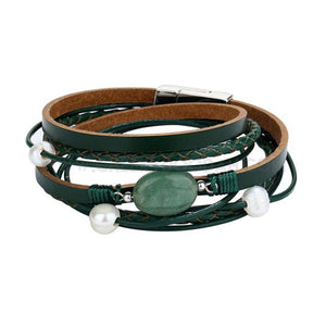 Leather and Stone Multi-Layer Bracelet - CheekyDoodah