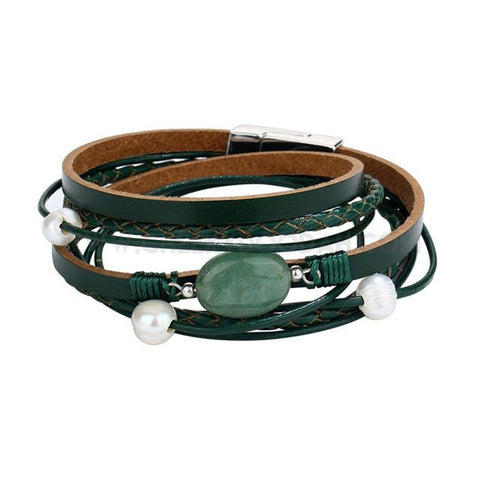 Leather and Stone multi-layer wrap bracelet in Green