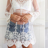 Hollow Out, Cream or Black Mesh Lace Beach Top - CheekyDoodah