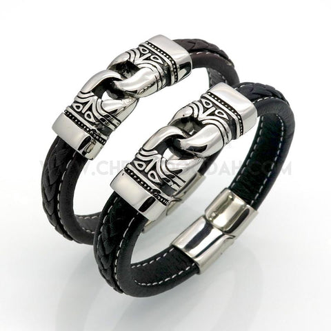 Leather and Stainless Steel byzantine style bracelet, duo