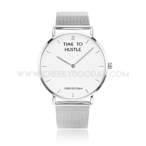 'Time To Hustle' Stainless Steel Watch-Watches-CheekyDoodah