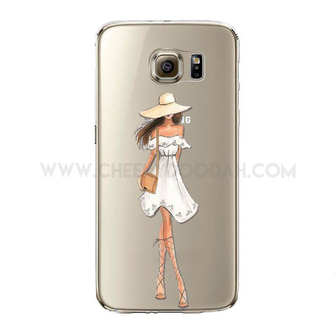Fashionable Samsung Phone cases, in soft, lightweight silicon and dirt resistant case.  For Samsung Galaxy:  S5, S6, S6Edge, S6edgeplus, S7, S7edge . Lady in white dress