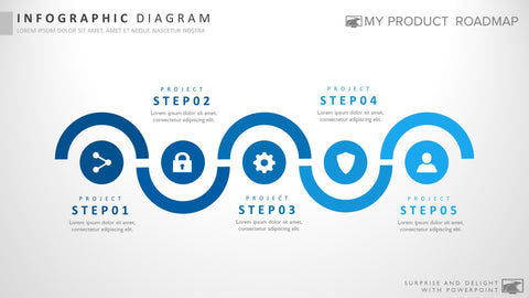 Five Stage Fancy Powerpoint Strategy Infographic Theme Diagram