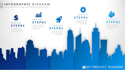 Five Stage Creative Powerpoint Strategy Infographic Slide Design