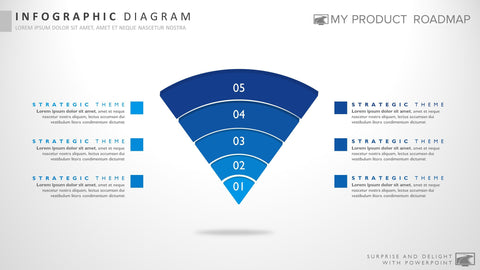 Five Stage Modern Powerpoint Strategy Infographic Presentation Template