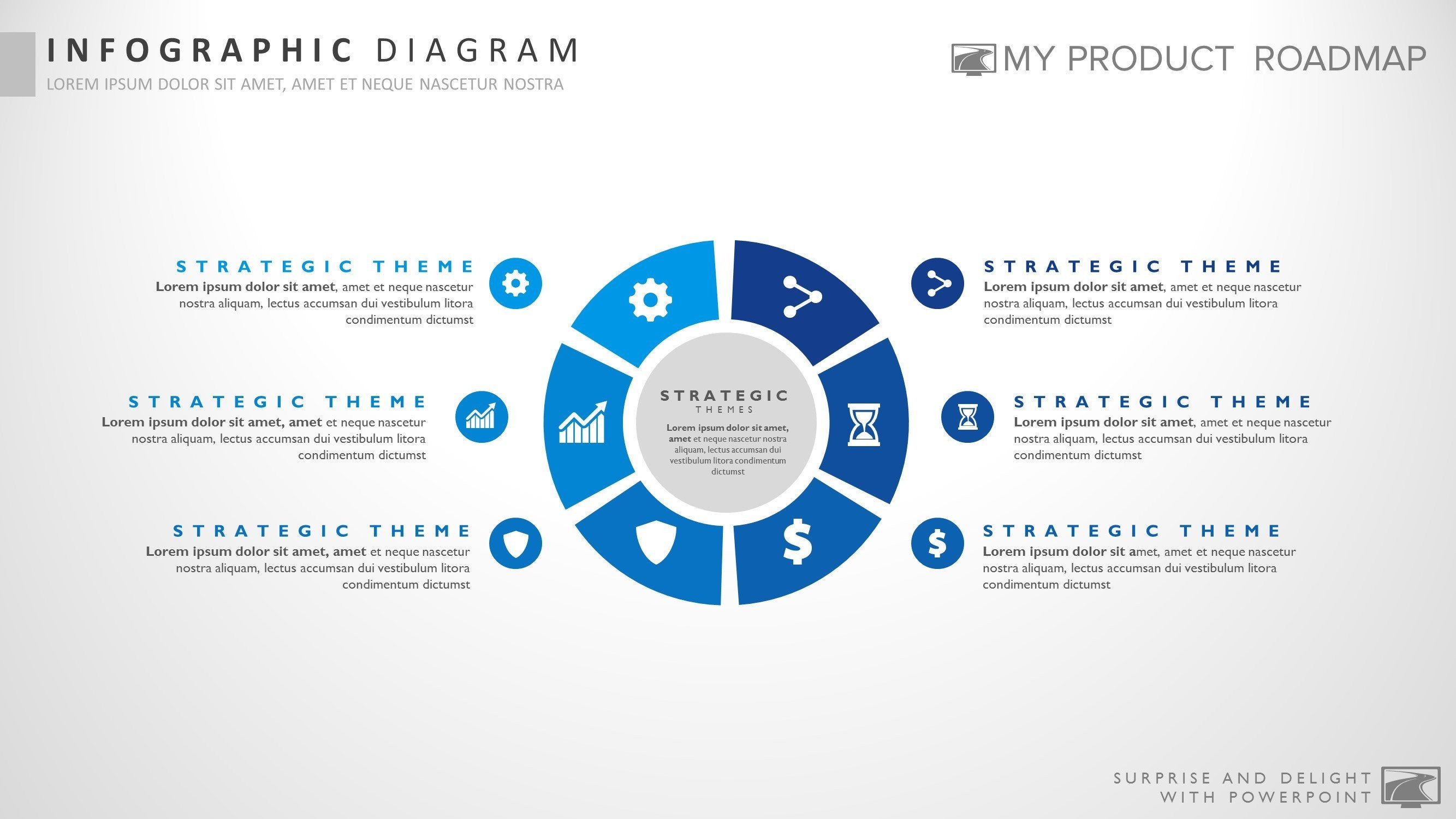 six stage impressive powerpoint strategy infographic slide template