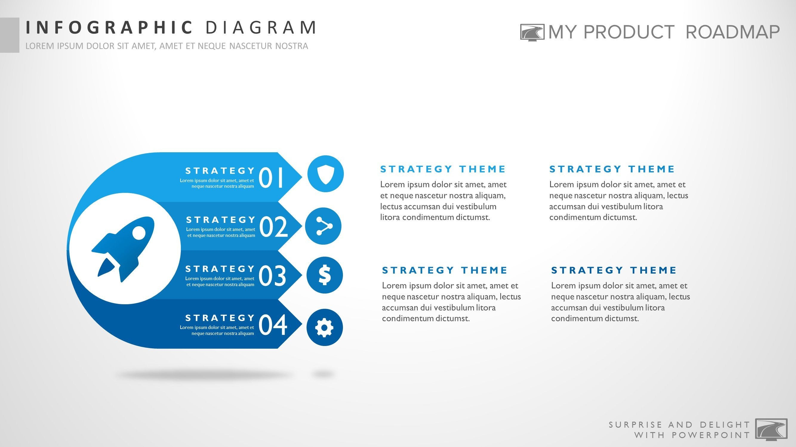four stage awesome powerpoint strategy infographic theme diagram