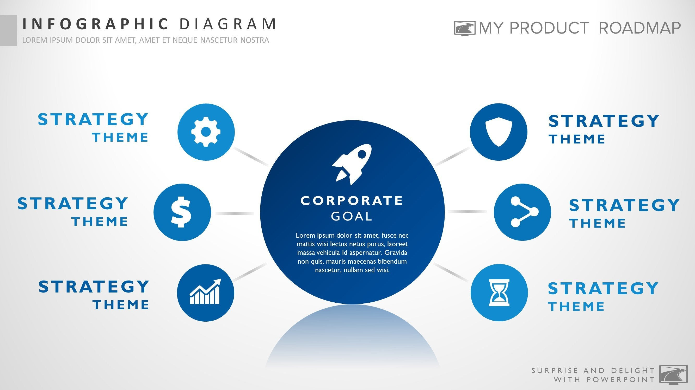 six stage business powerpoint strategy smartart presentation template