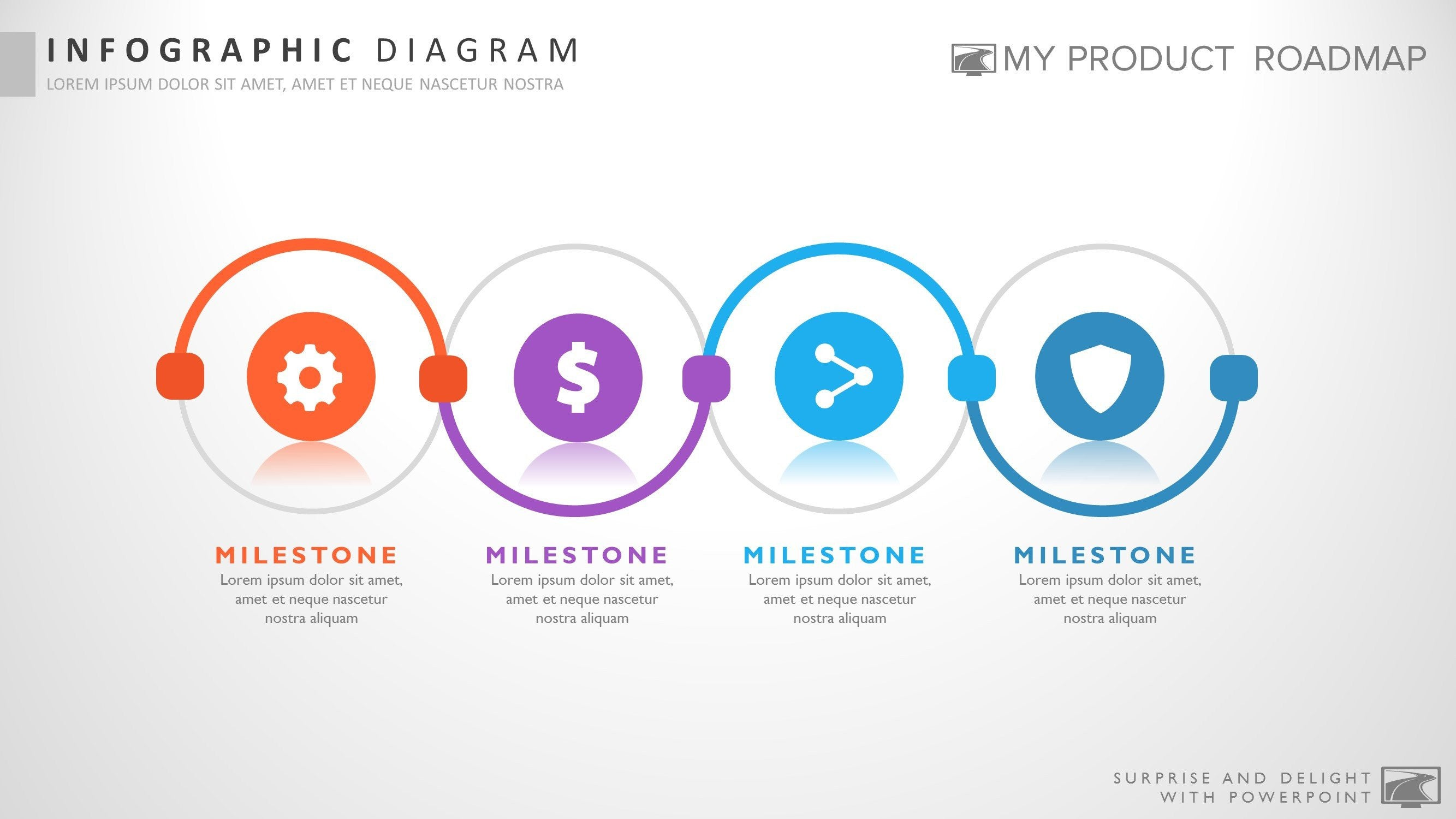 four stage fancy powerpoint strategy smartart theme design