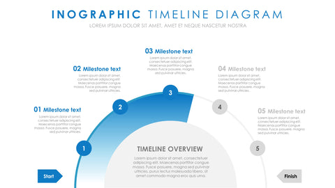Five Stage Business Strategy Smart Art Timeline Template