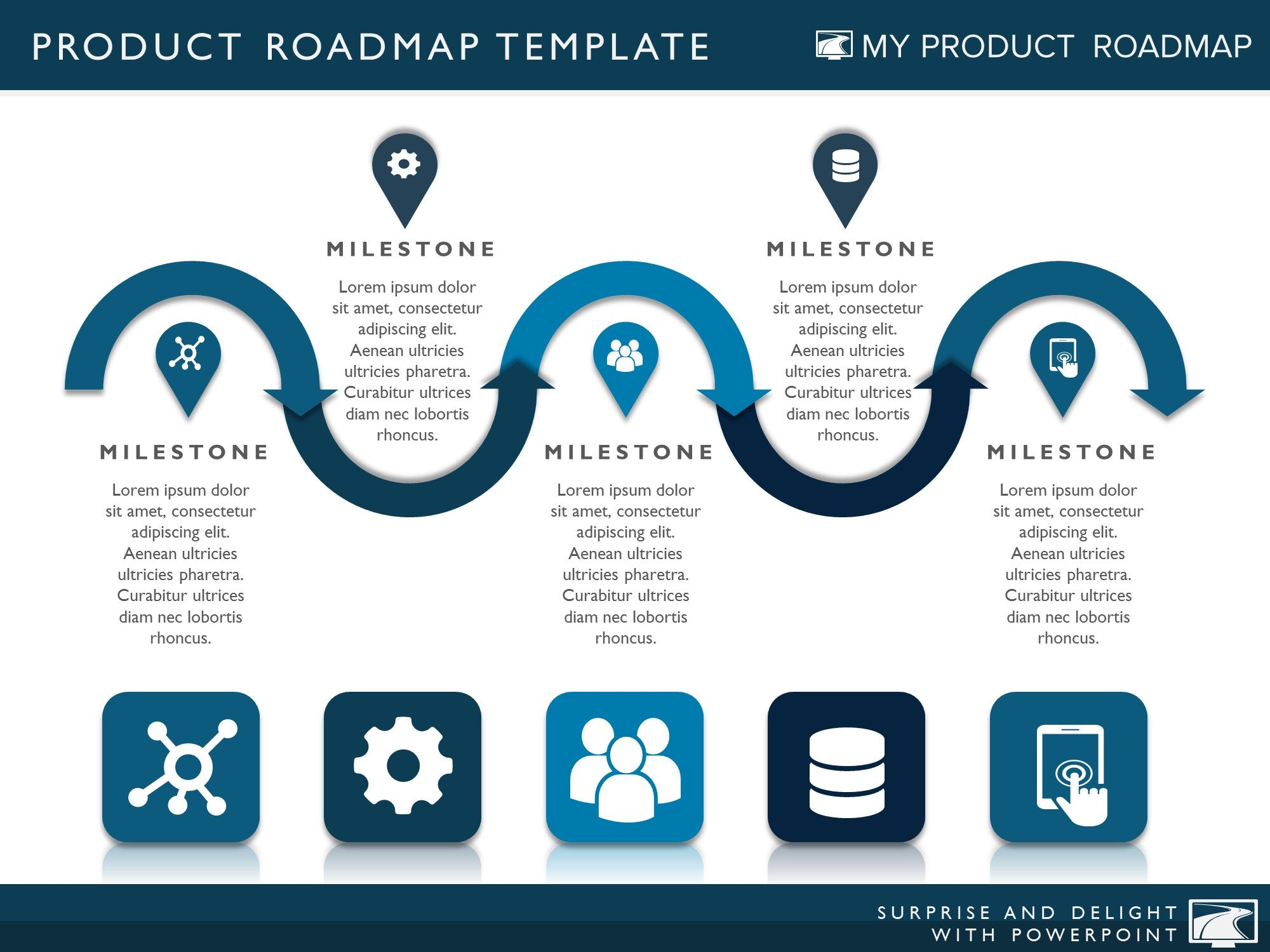 Five Phase Product Planning Timeline Roadmap Presentation Diagram