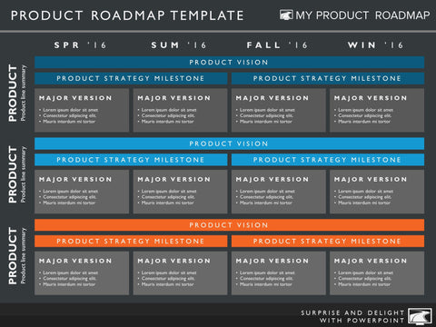 Four Phase Software Timeline Roadmap PowerPoint Diagram