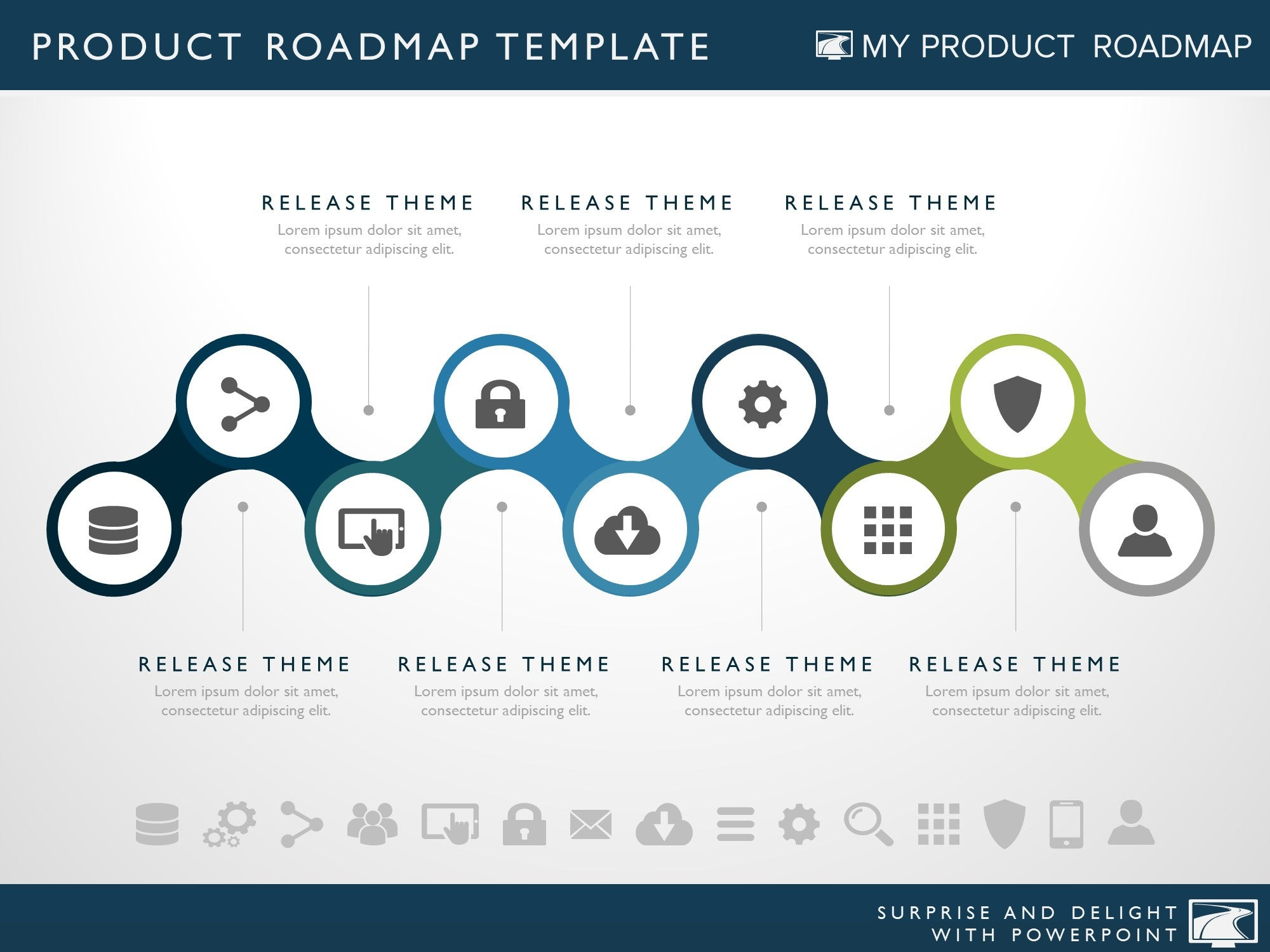 Seven Phase IT Strategy Timeline Roadmap Powerpoint Diagram - Website roadmap template