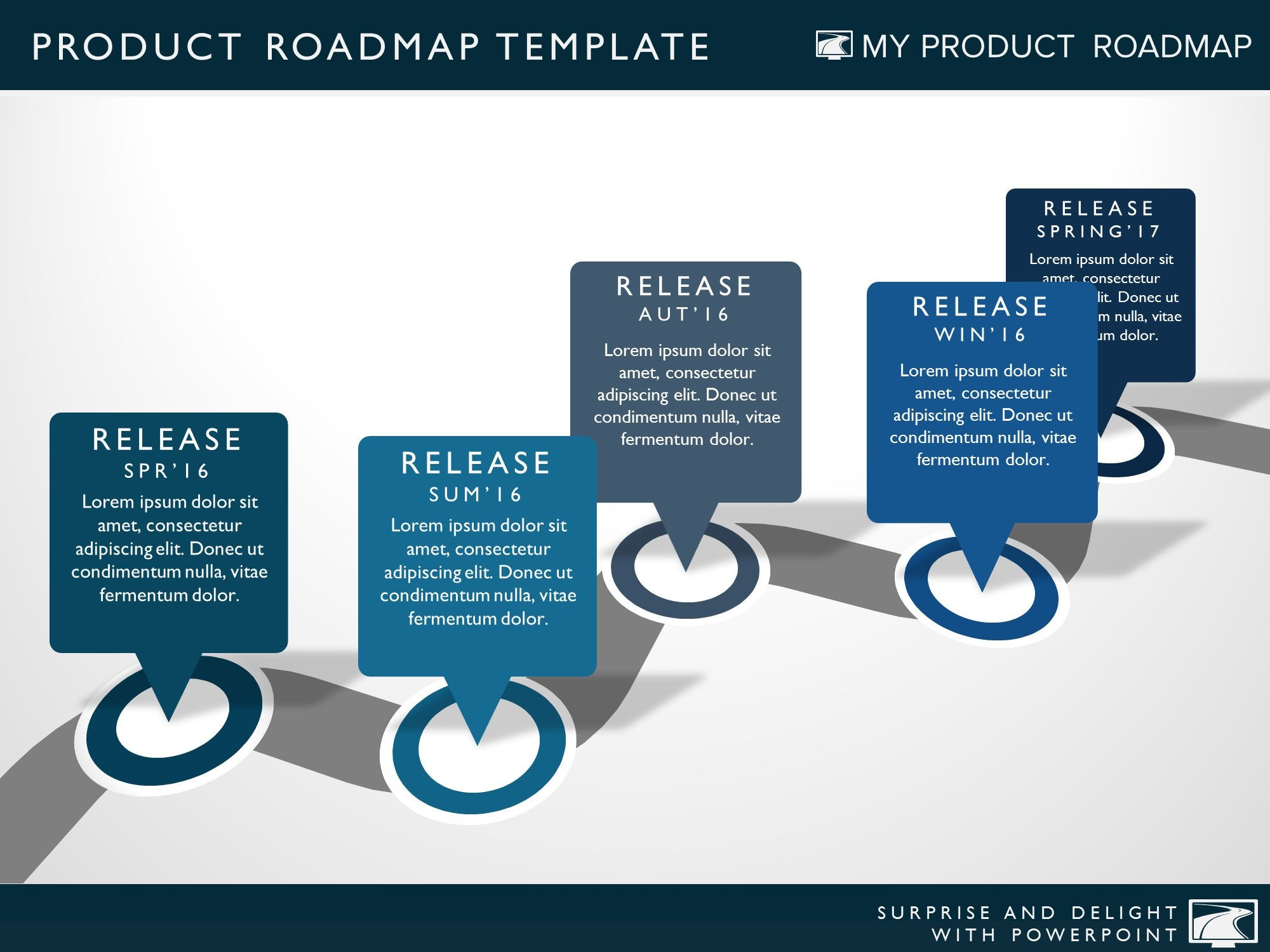 five phase project planning timeline roadmap presentation template, Presentation templates