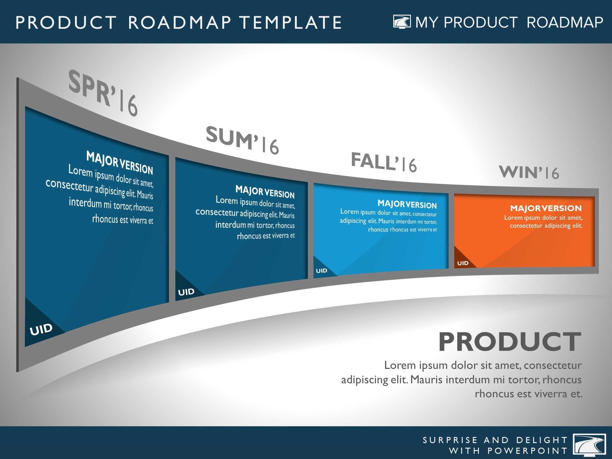 four phase development planning timeline roadmap powerpoint template