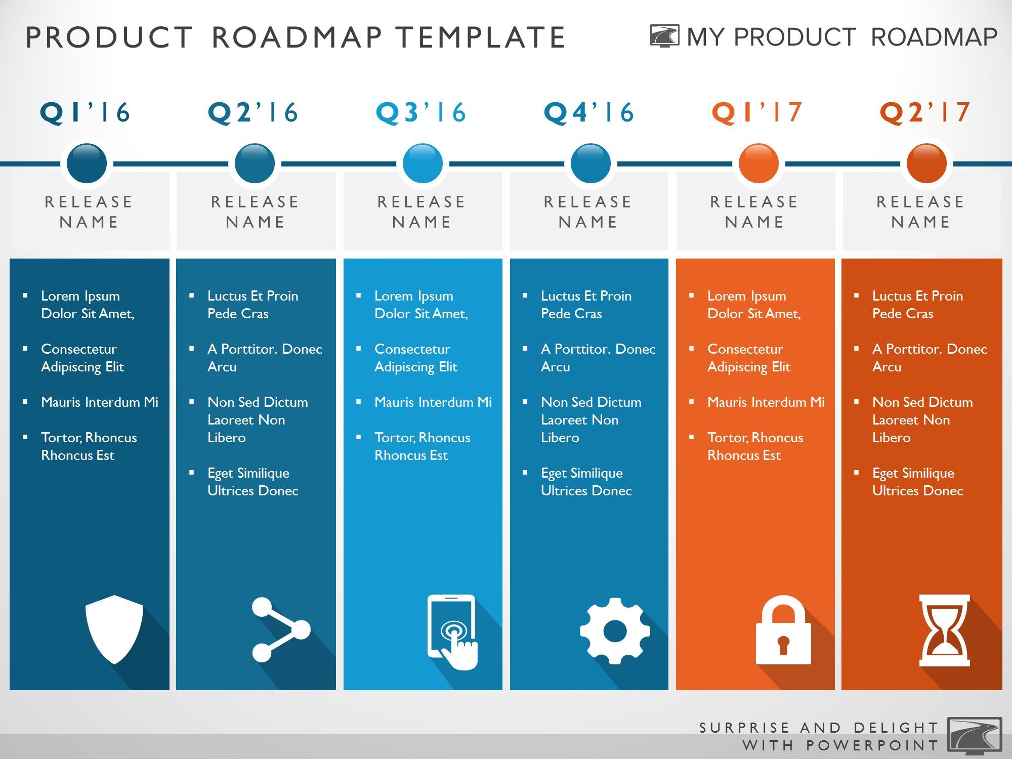 Six phase development planning timeline roadmapping for It strategic plan template powerpoint