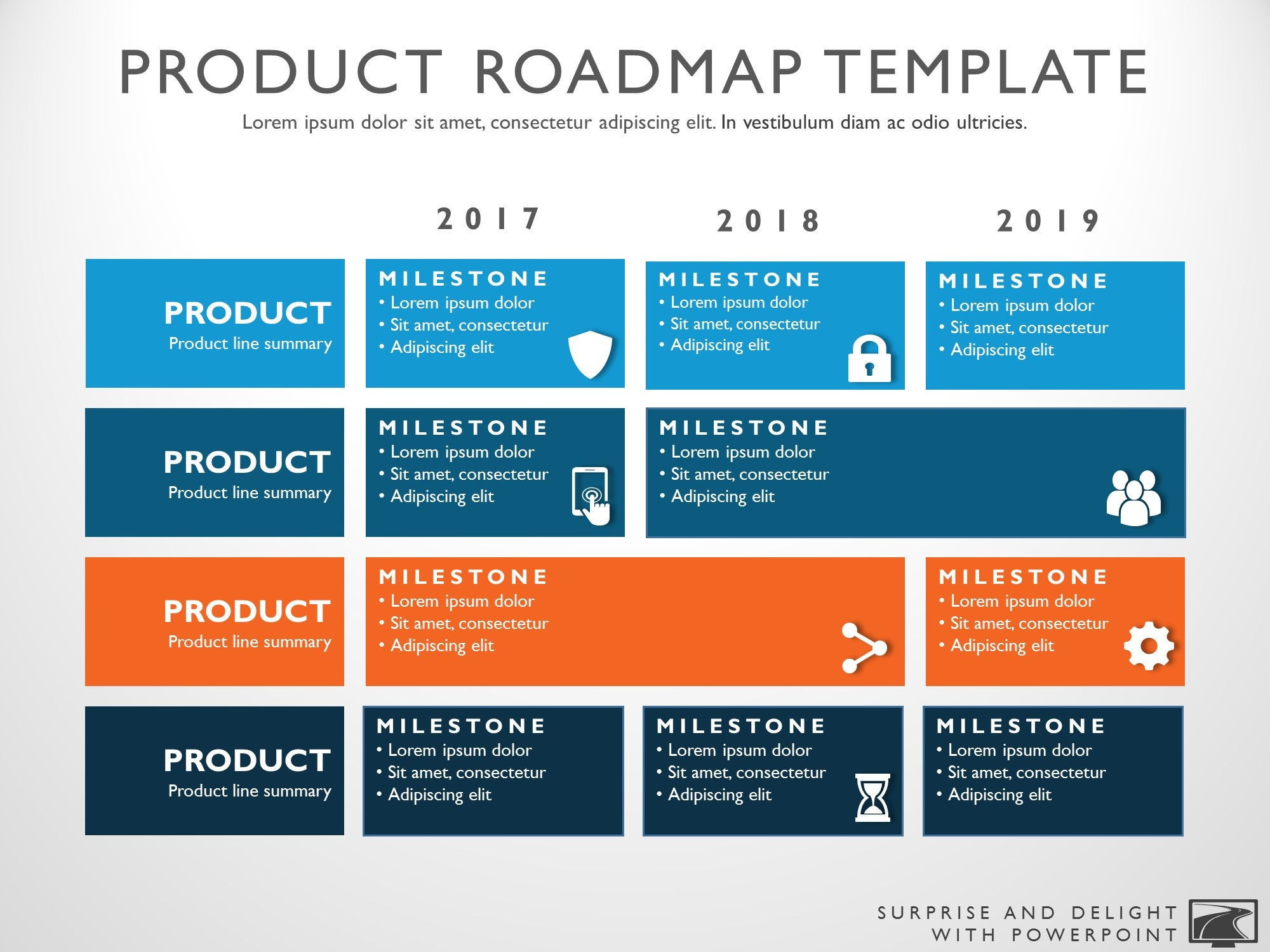 it strategic plan template powerpoint - three phase business planning timeline roadmapping