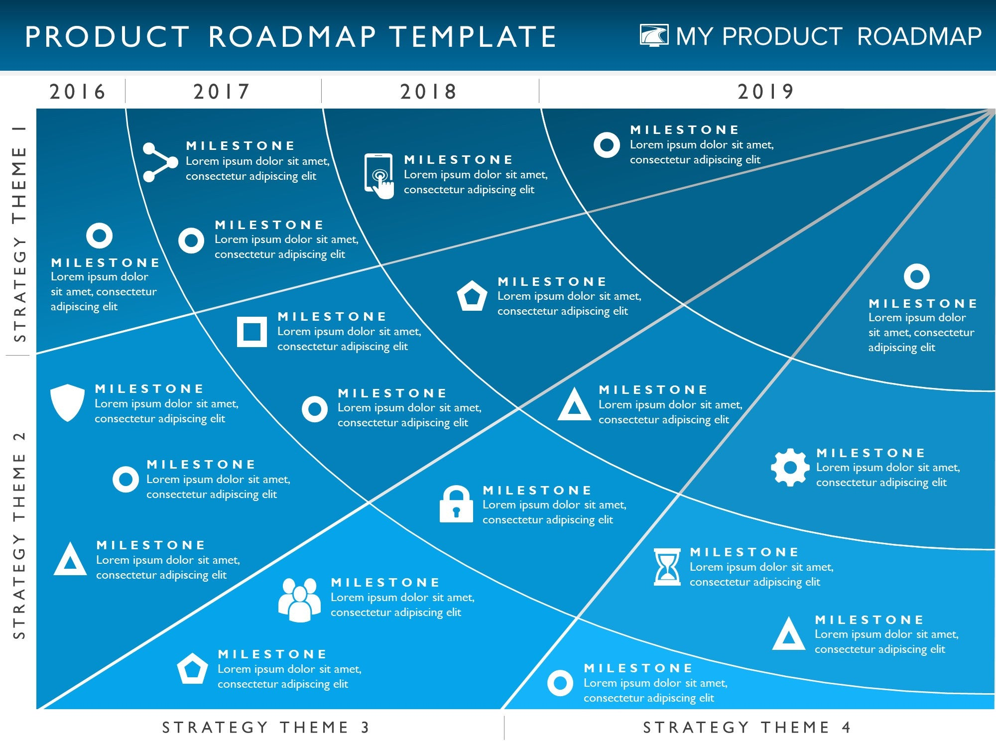Four phase product strategy timeline roadmap powerpoint template alramifo Image collections