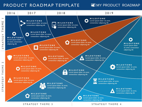 four phase product strategy timeline roadmap powerpoint template, Modern powerpoint