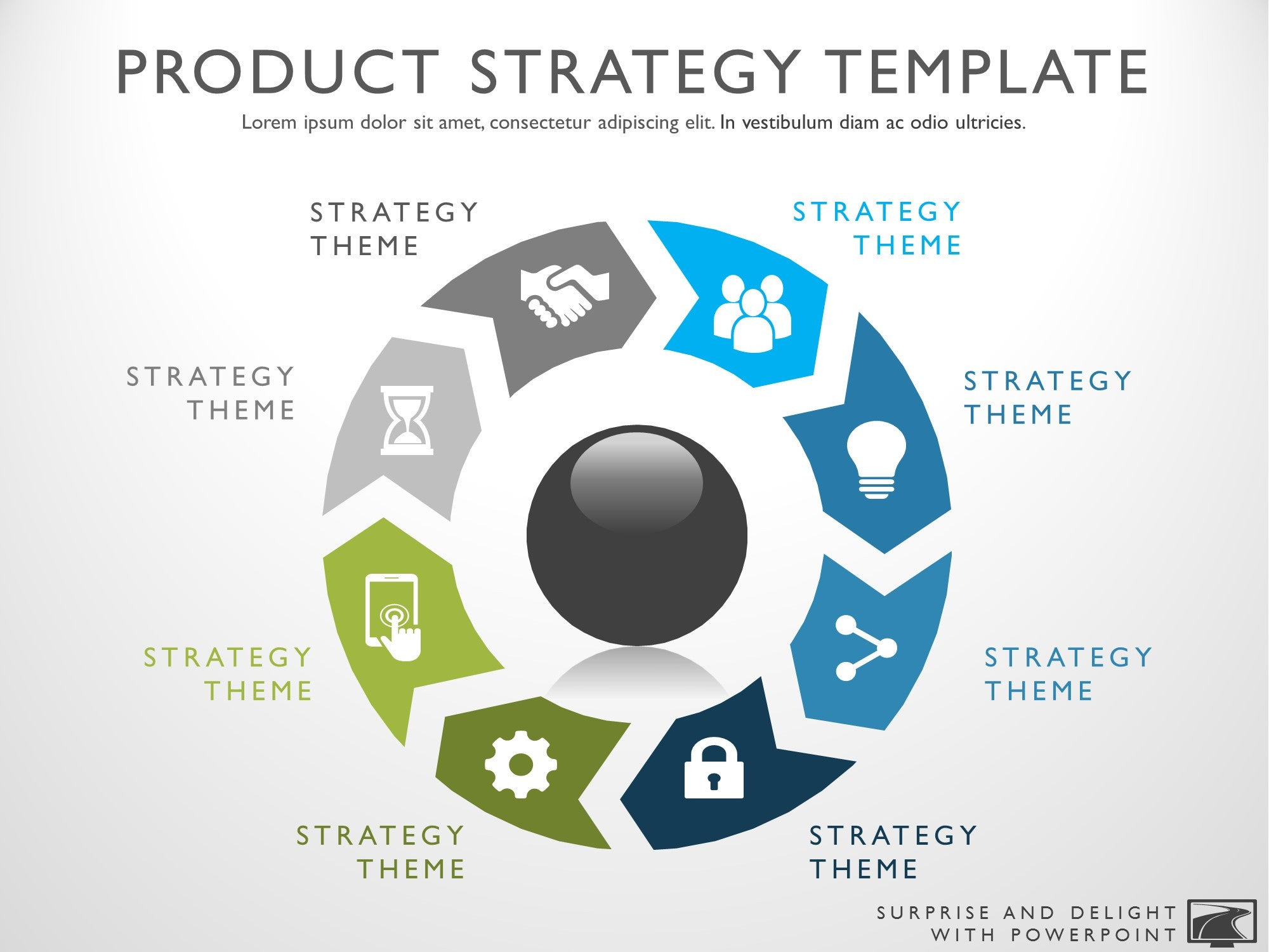 strategy templates template roadmap powerpoint diagram icon themes myproductroadmap management selection arrows circular steps