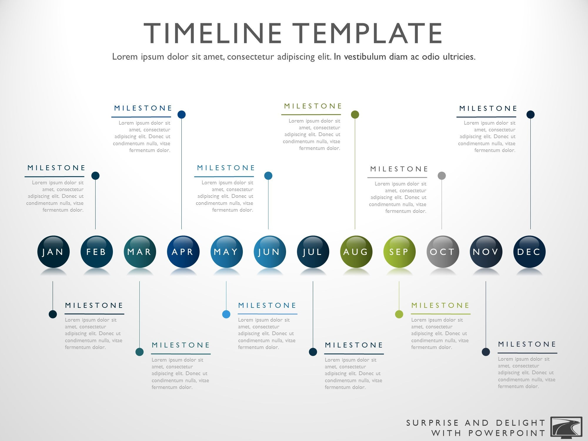 Twelve phase horizontal timeline graphic timeline template for powerpoint great project management tools to help you create a timeline to alramifo Image collections