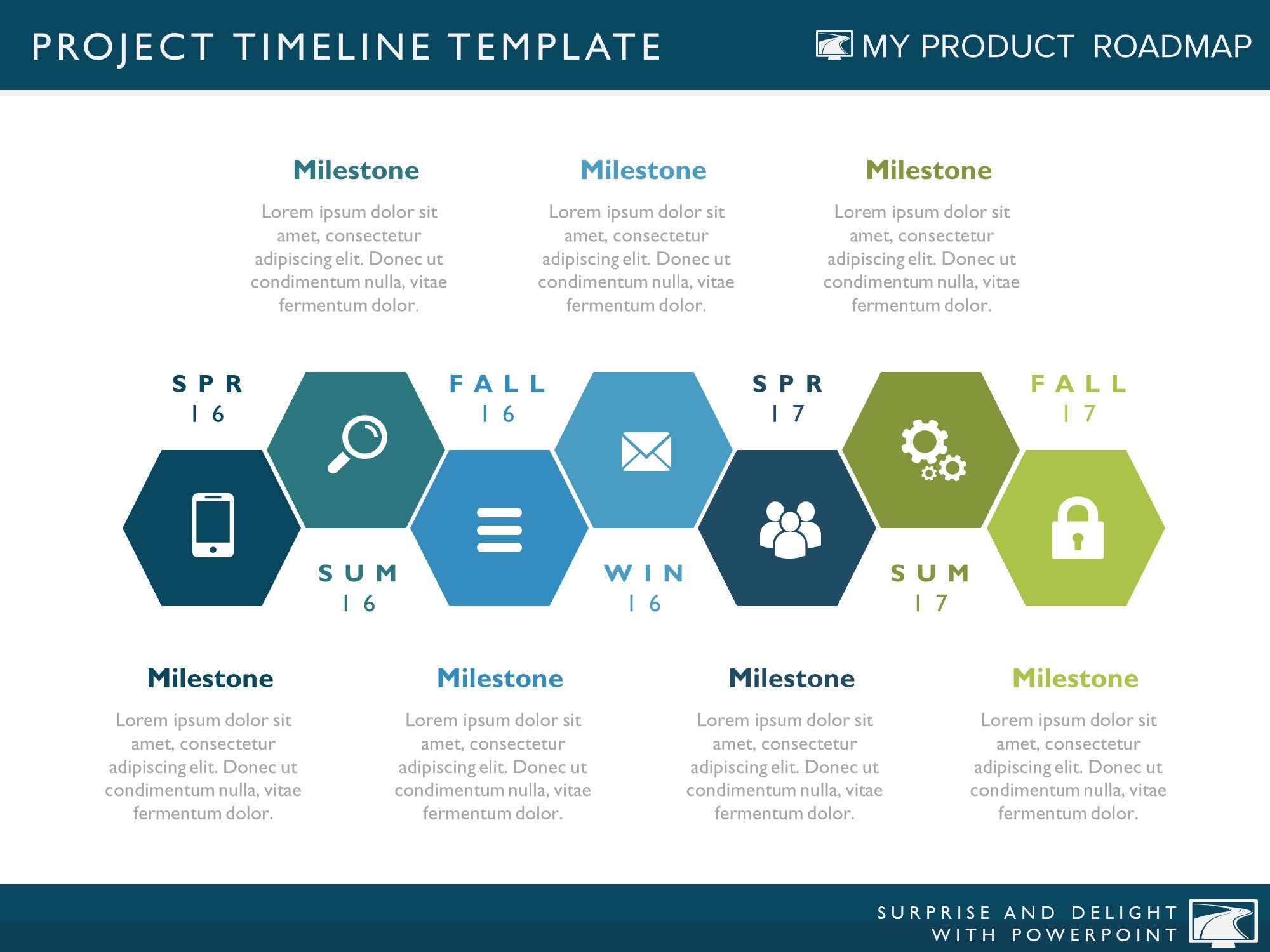 Seven Phase Powerpoint Timeline Slide My Product Roadmap - Timeline roadmap template