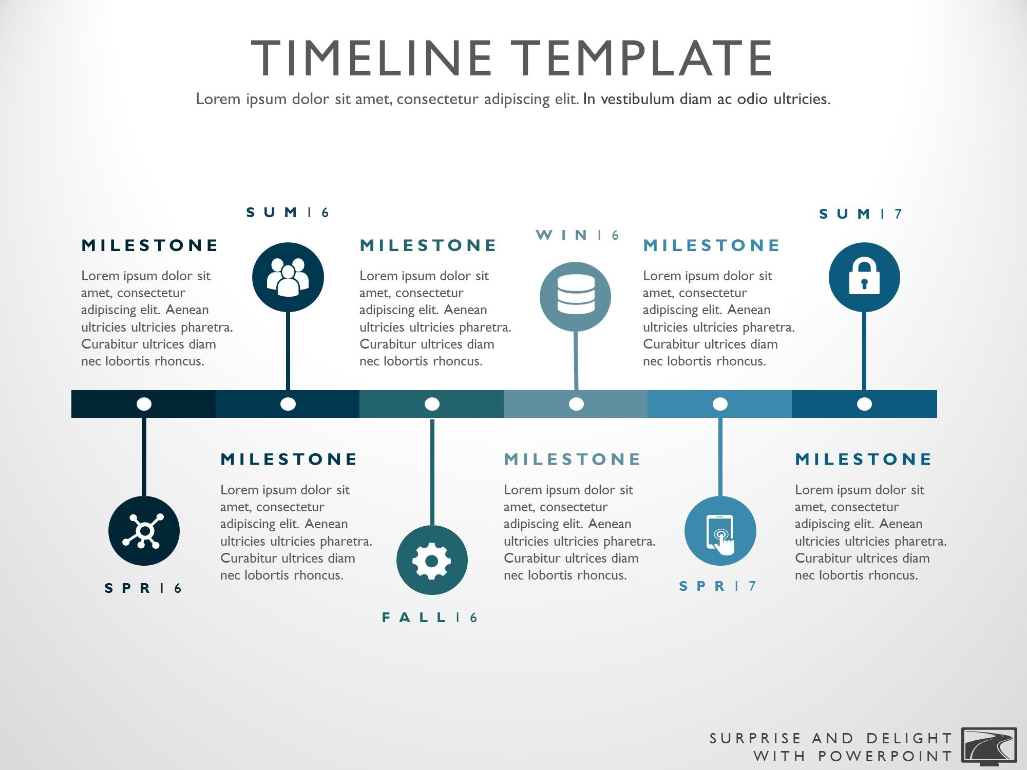 Six phase project timeline graphic for High level project timeline template