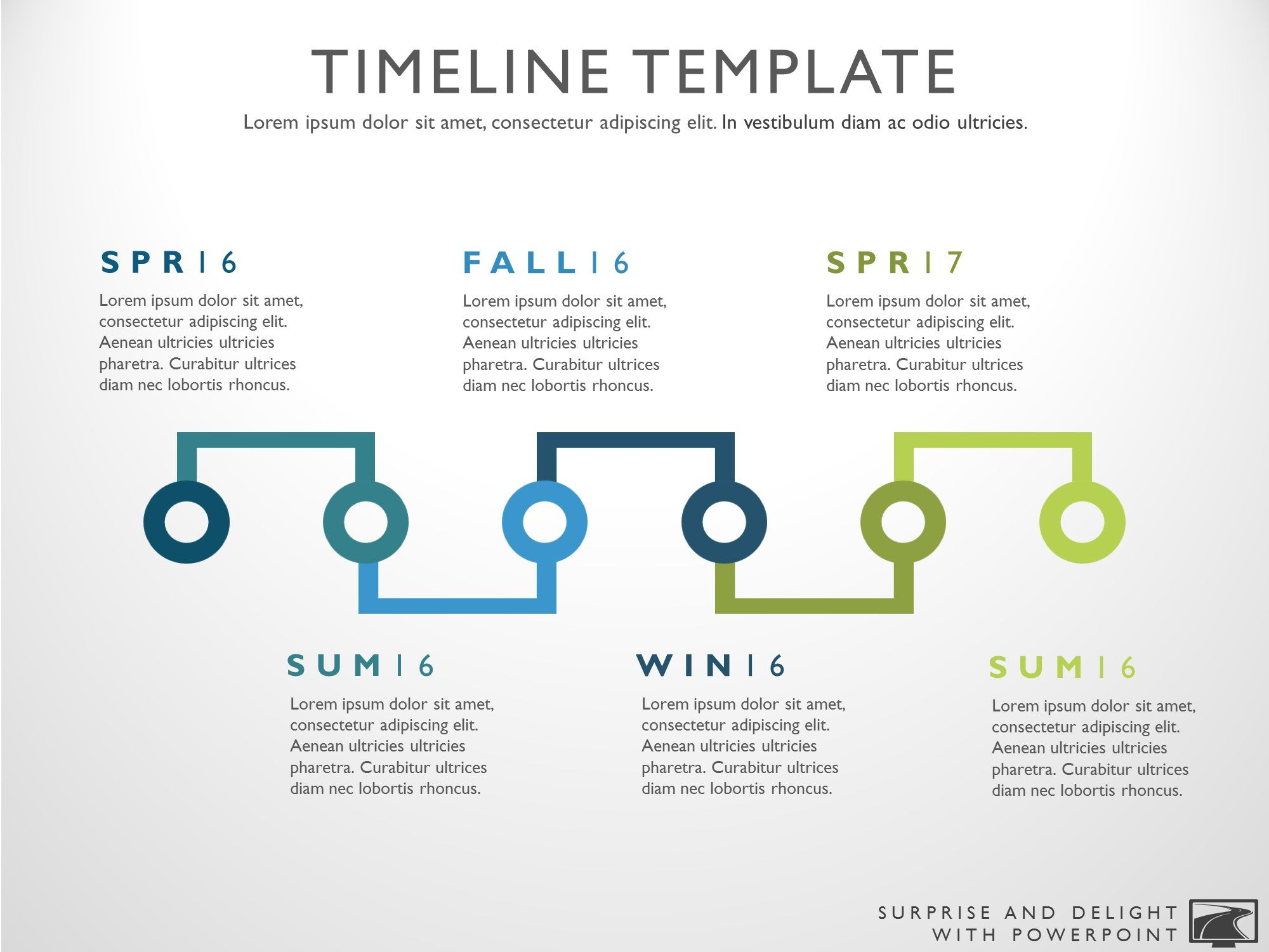 Six phase powerpoint timeline slide toneelgroepblik Choice Image