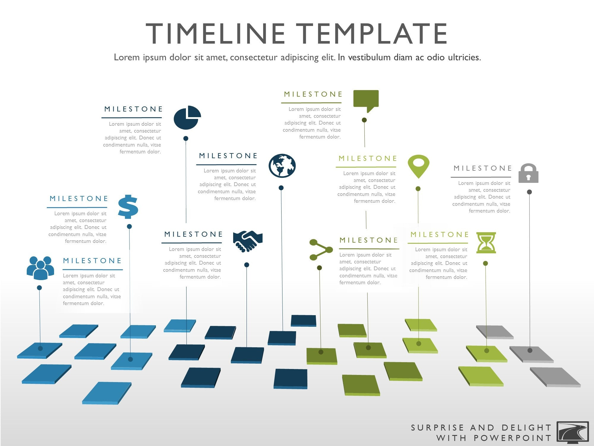 Ten Phase Creative Timeline Slide - Roadmap timeline template