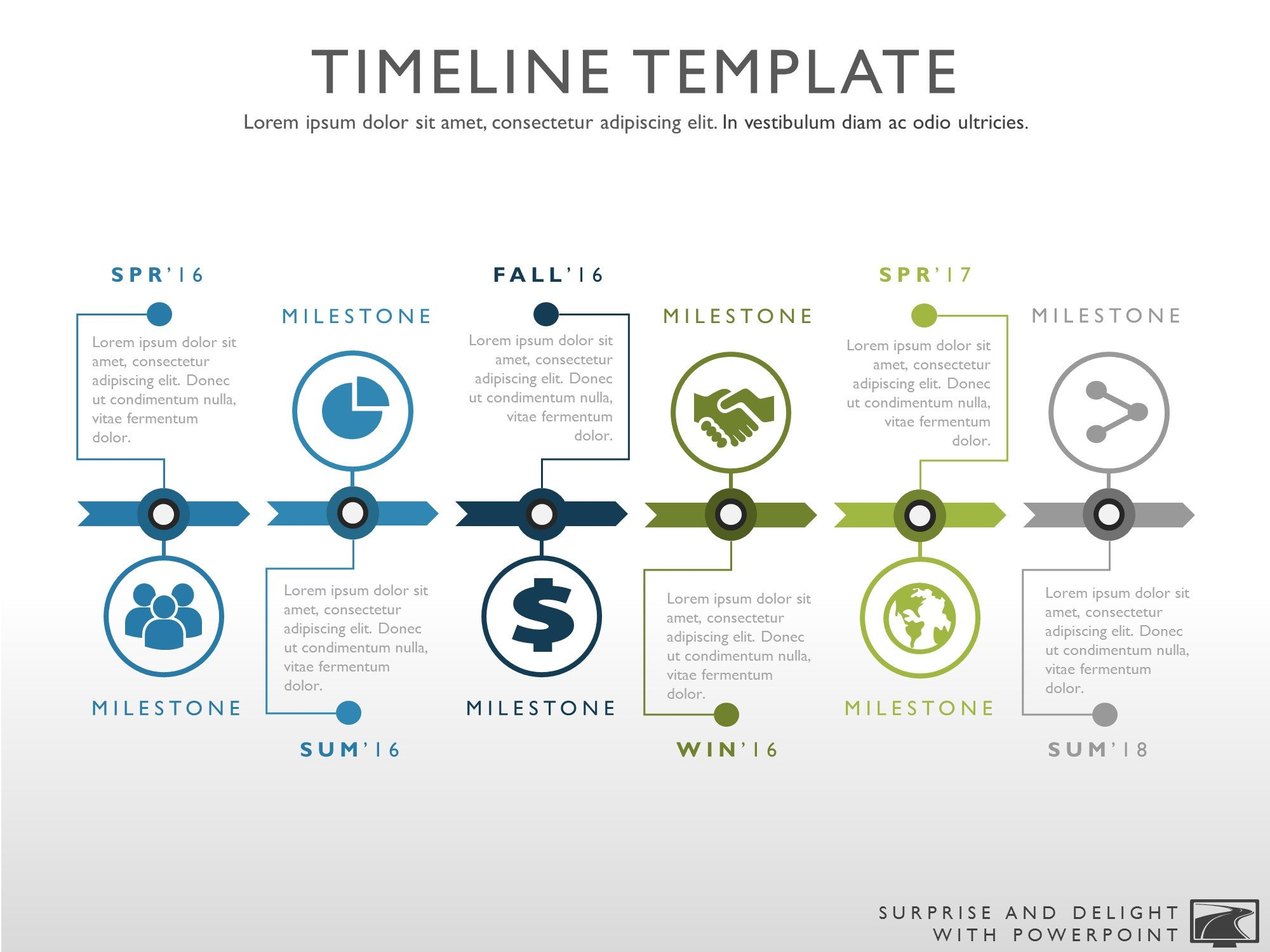 Six Phase Creative Timeline Graphic - Timeline graphic template