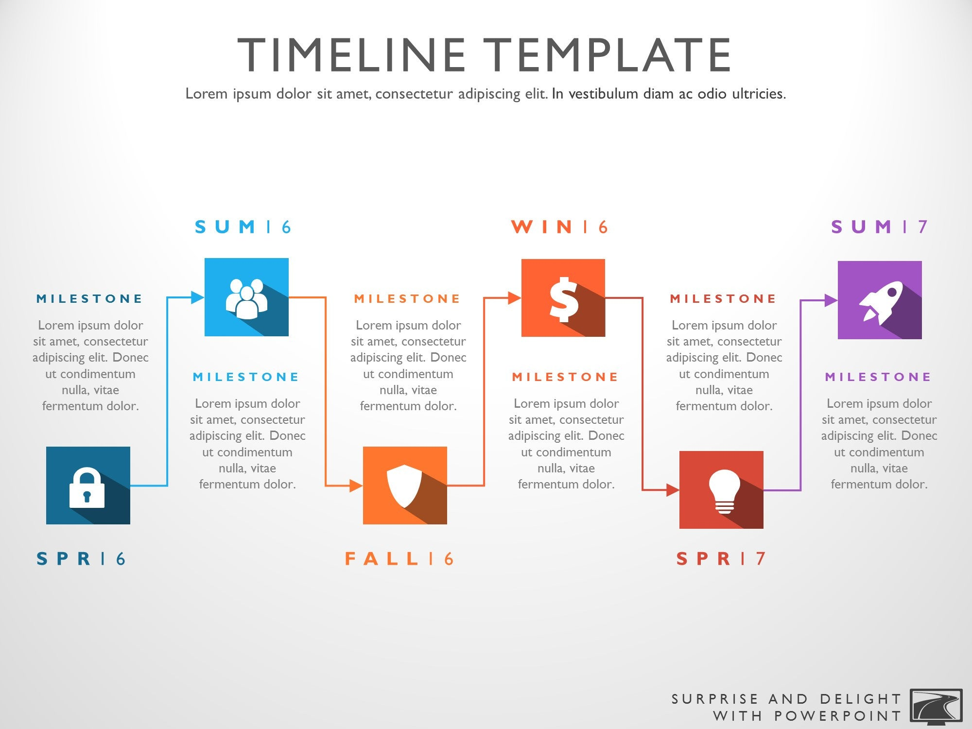 Six Phase Powerpoint Timeline Template