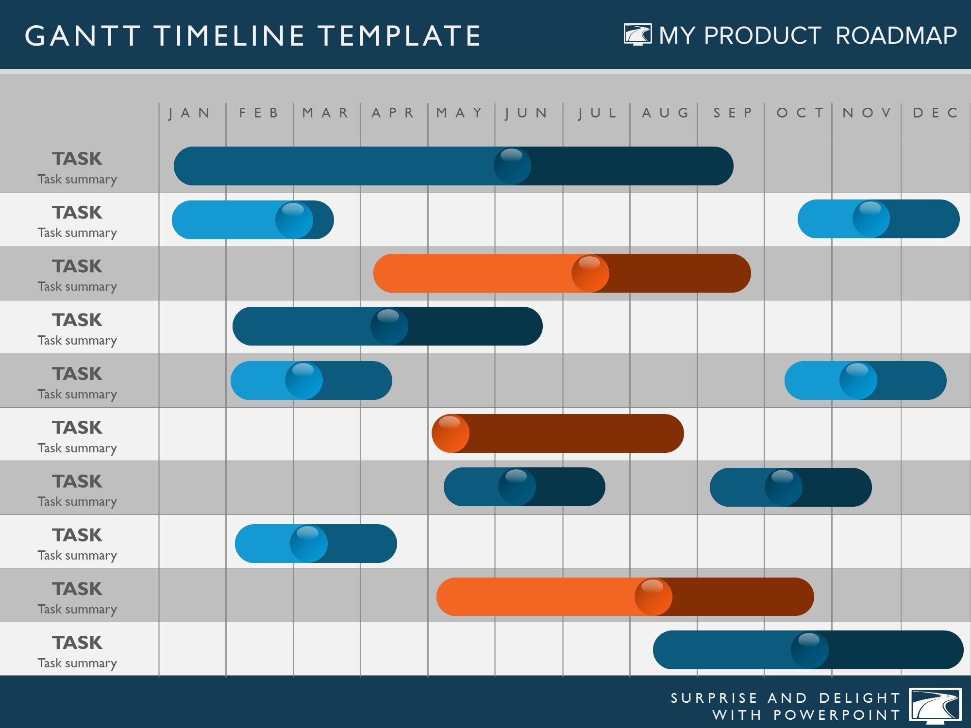 twelve phase powerpoint timeline graphic