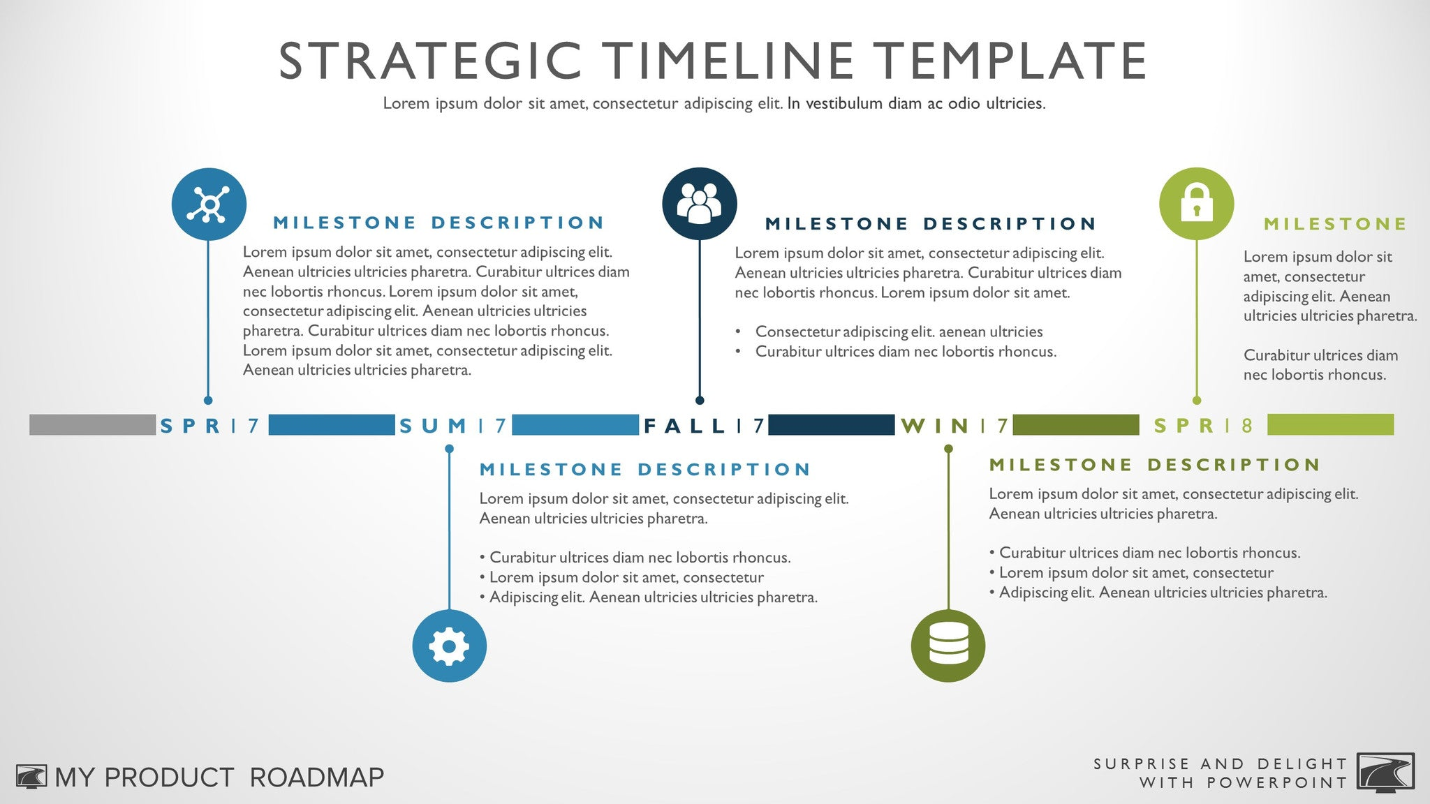 Five Phase Creative Timeline Template - Milestone timeline template