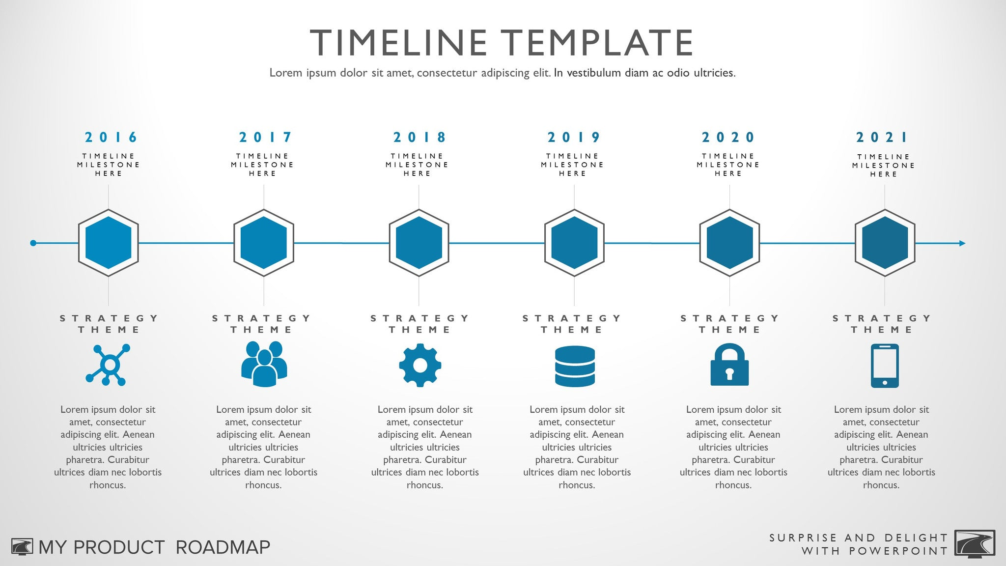 Six Phase Horizontal Timeline Graphic - Timeline graphic template