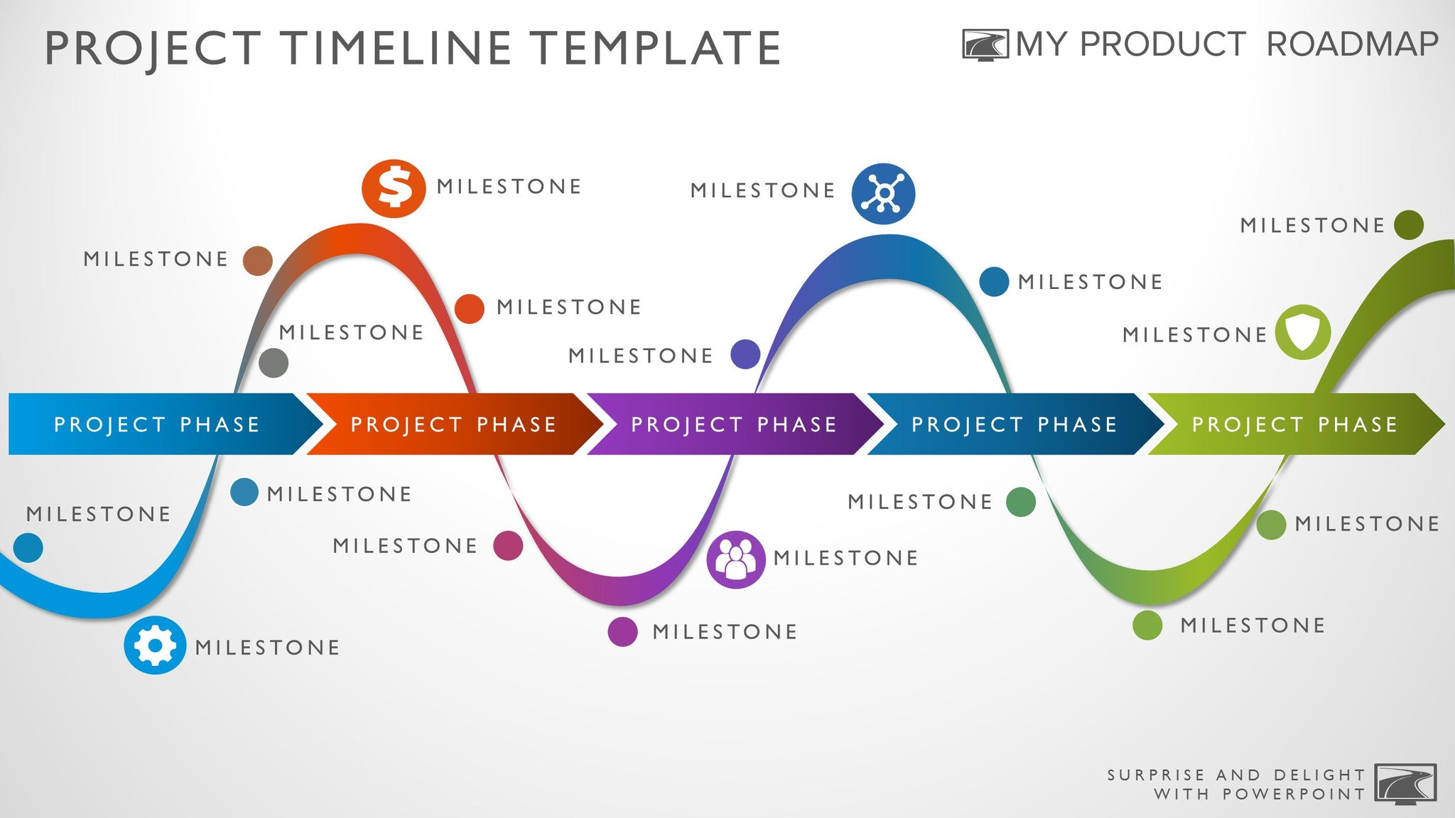 Five Phase Visual Timeline Template - Roadmap timeline template ppt