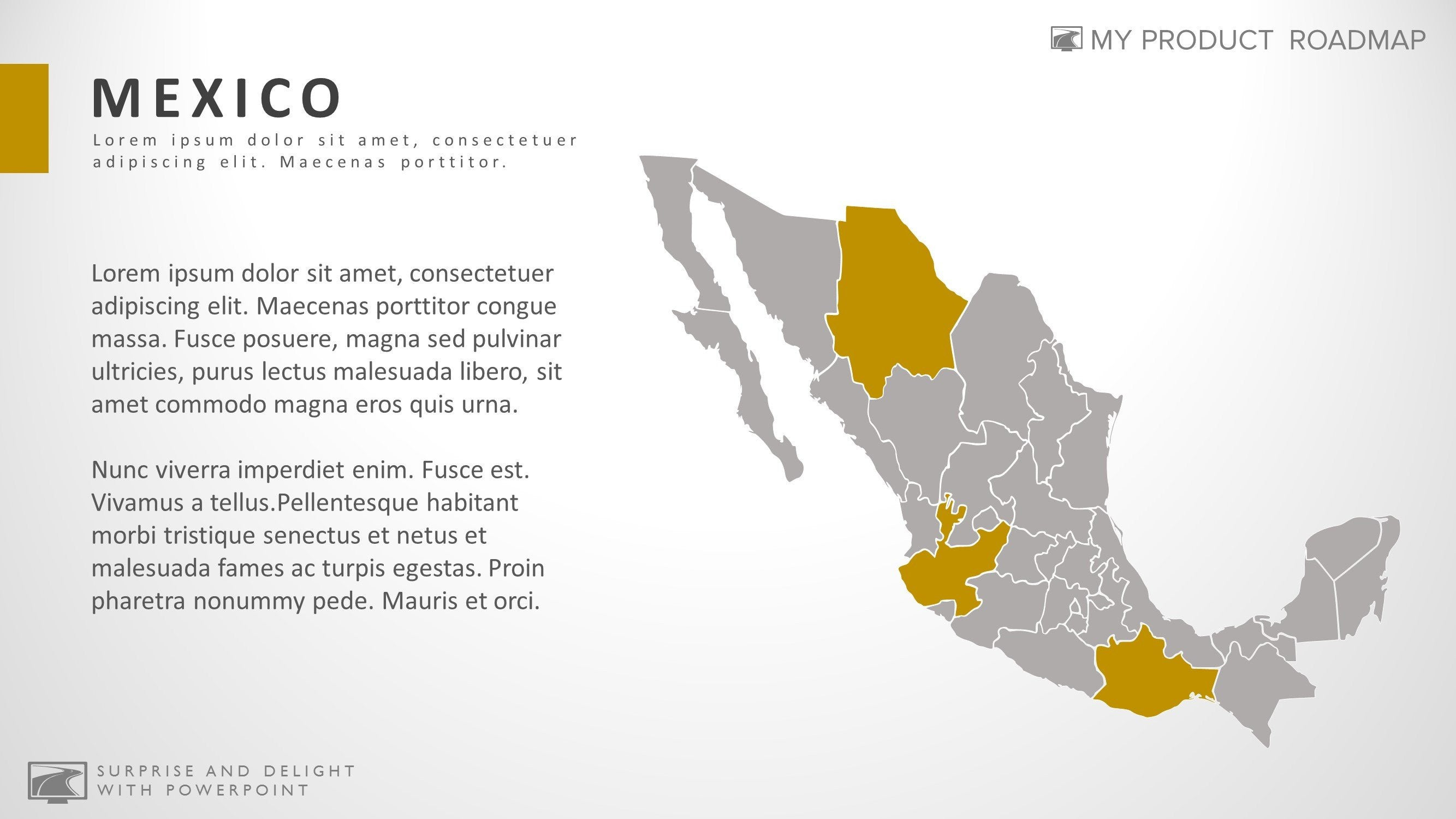 Mexico Creative Powerpoint Map Infographic Slide Template