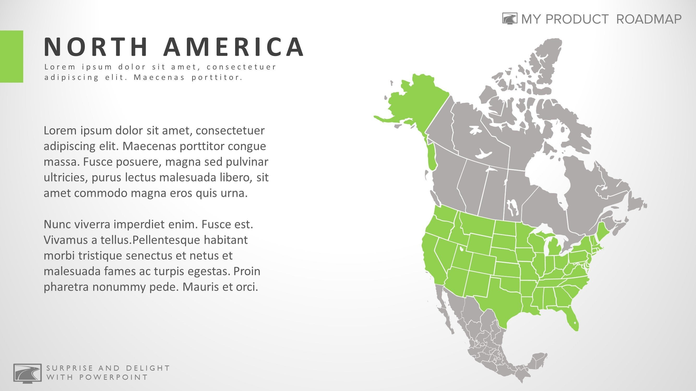 north america fancy powerpoint map smartart presentation design