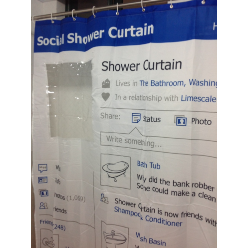 Facebook Social Media Fabric Shower Curtain