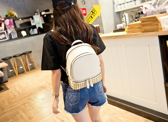 Genuine Leather Gold Studded Backpack - More Colors
