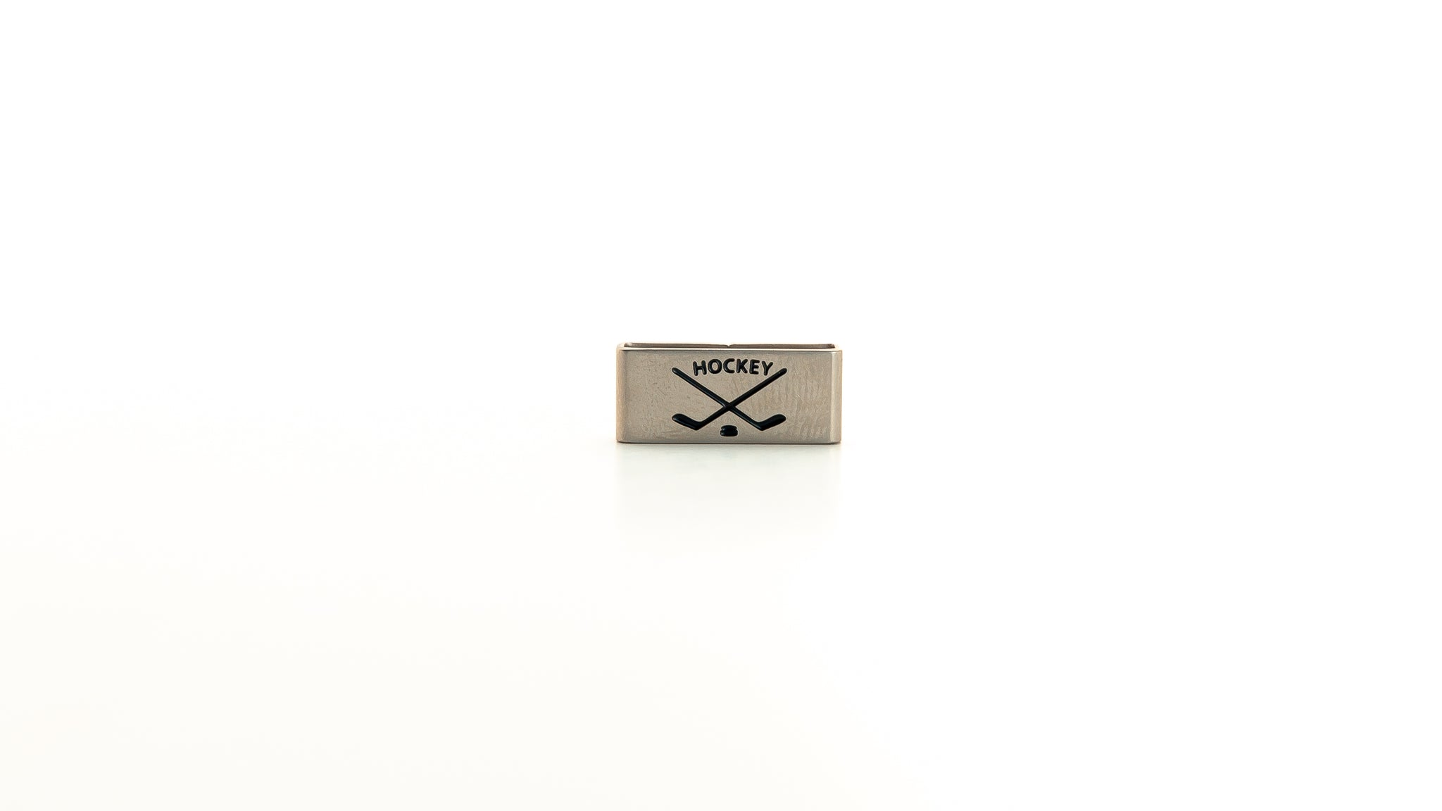 Hockey charm stainless steel tag. Radtagz collectible charms. Mens steel jewelry. Mens charms