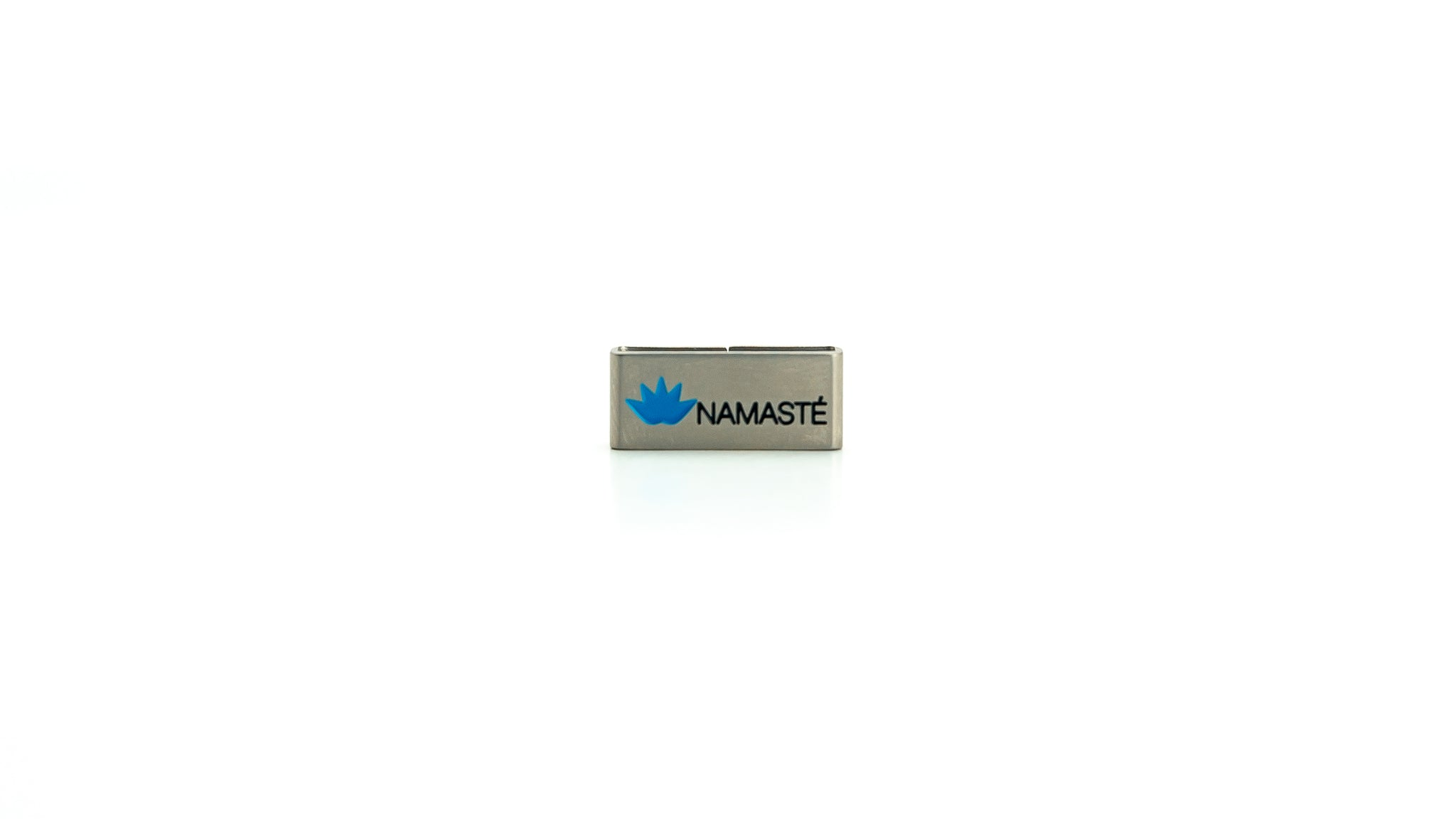 Namaste stainless steel tag.Yoga Accessories.  Stainless steel jewelry. Radtagz collectible charms.